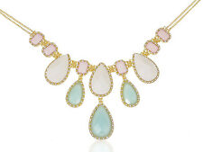 Lady Golden Tone Royal Inspired White Blue Teardrop Bead Adjustable Necklace