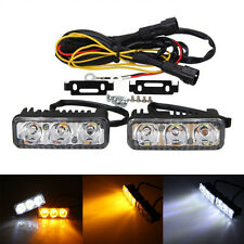2X High Power 6 LED Daytime Running Light 12V Car White DRL & Amber Turn Signal