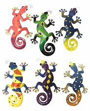 Wall Hang Art Decorative Metal Gecko Plaques Reptile Lizards Gecko Set of 6 Gift