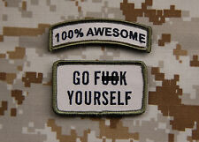 100% AWESOME Tab & GO F*** YOURSELF Multicam Morale Patch Set US Army SEAL