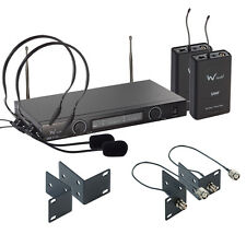 W Audio TPT-202 Twin UHF Headset Mic System Theatre Stage School Professional