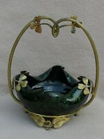 ANTIQUE BOHEMIAN LOETZ OPAL IMITATION GLASS ORMOLU VASE ART NOUVEAU JUGENDSTIL