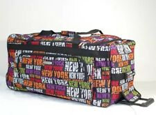 "New York Pattern 30"" Wheeled Duffle Bag with Retractable Handle Travel Gym Bag"