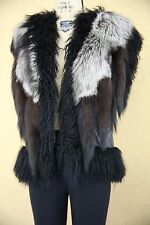 Adrienne Landau Mongolian Fur Vest Gilet Jacket Coat Shaggy Fur Tail Black Grey