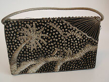 Vintage Ladies Black Embellished Evening Clutch Purse India Silver Palm Trees