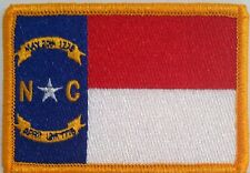North Carolina NC State Flag Iron-On Patch Military Biker Emblem Gold Border