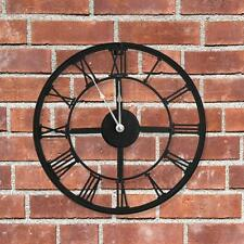 NEW LARGE 34CM BLACK METAL ROUND GARDEN/HOME WALL CLOCK VINTAGE ROMAN NUMERAL