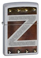 Zippo Leather & Metal Satin Chrome- Zippo 60000066 - Free Pack Of Flints