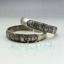 Chinese ancient Tibet silver exquisite handmade bracelets Pisces