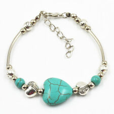 Hot Selling 1 PCS NEW Fashion Jewelry Tibet Silver Pld Heart Turquoise Bracelet