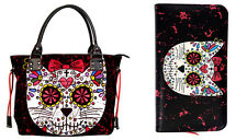 Banned Sugar Skull Kitty Cat Handbag Tote School SHOULDER BAG & WALLET GIFT SET