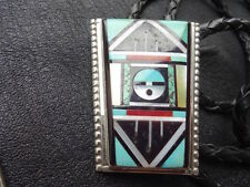Zuni GORGEOUS Multi Stone Inlay & Sterling Silver Bolo Tie Signed