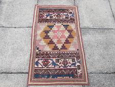 VECCHIO Fatto a Mano Tradizionale Persiano Orientale Tappeto Patchwork Lana Marrone 113x67cm