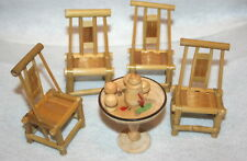 DOLLHOUSE MINIATURE ROUND  BAMBOO DINNER SET...10 PIECES