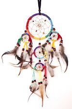 NEW MULTI-COLOR DREAM CATCHER HANDMADE WITH LEATHER FEATHER CAR OR WALL DECOR IW