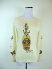 RAW 7 !00% CASHMERE BUTTERFLY SKULL TATTOO IVORY WINTER WHITE SWEATER PULLOVER M