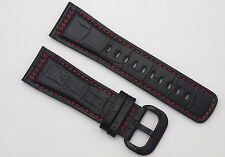 28mm Watch Band Strap (Black / Red) PVD Buckle For Seven Friday