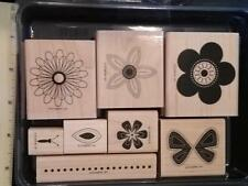 Stampin' Up! PUNCHED POSIES (wood mount) Flower Butterfly Petals