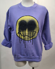 Obey Women's Crew Sweatshirt Whatever Violet SM NEW Smiley Face Shepard Fairey