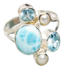 Larimar, Blue Topaz, Cultured Pearl Sterling Silver Ring Size 8 Jewelry R832226F