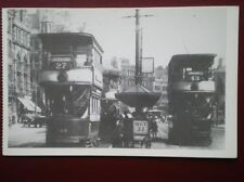 POSTCARD MANCHESTER TRAMS - THE NO 27 TO OLD TRAFFORD & NO 43 TO GREENHEYS