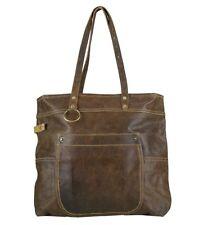 Sunsa Vintage Leder Tasche Schultertasche Handtasche Shopper aus Canvas Leder