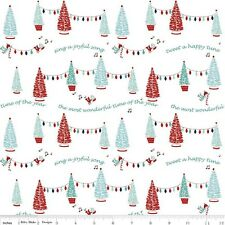 Riley Blake Pixie Noel Christmas Fabric. Pixie Trees in White. by the FQ