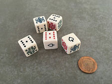 5 Six Sided Poker Dice Brand New W/O Dice Cup Fun Times with 5 Poker Dice *