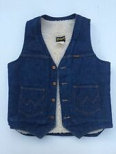 VTG Wrangler Denim Vest Sherpa Lining Jean  70s 80s Blue Medium Solid