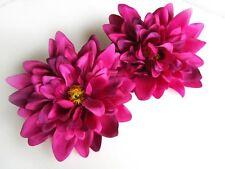 "2 Artificial Silk Violet Dahlia Flower Heads piece 4"" bulk bridal Wedding decor"