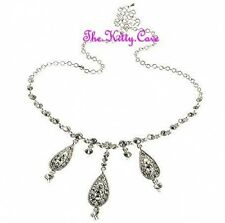 Vintage Chic Bridal Wedding Silver Teardrop Choker Necklace w/ Swarovski Crystal