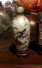 snuff bottle China antique beautiful cloisonne with wood stand