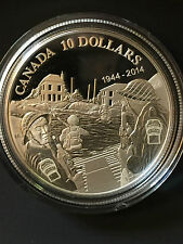 2014 CANADA $10 70TH ANNIVERSARY OF D-DAY .9999 Fine Silver  RCM# 132484