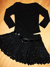 GIRLS BLACK TOP & SILVER SPARKLE PRINT FLARED RUFFLE SKATER PARTY SKIRT age 9-10