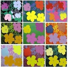 STAMPA SU TELA  CANVAS ANDY WARHOL FLOWERS 70X70