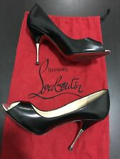Christian Louboutin Black Leather Peep Toe Pumps Red Bottom Heels Size 35 Italy