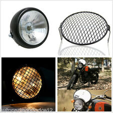 """1x 6.4"""" Grill Retro Motorcycle Side Mount Headlight Cafe Racer Bobber Old School"""