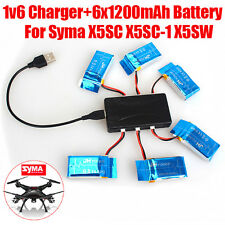 6pcs 3.7V 1200mAh Lipo Battery with 6 in 1 Charger For Syma X5SW X5SC-1 X5SC