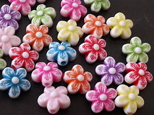 50 10mm FLOWER multicolor acrylic plastic loose beads