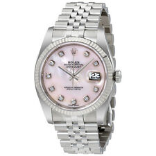 Rolex Datejust Pink Mother of Pearl Diamond Dial Steel and 18K White Gold