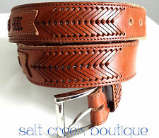 Vintage HIPSTER Tan Leather Western Laced Mens Belt 40 Silver Buckle Wrangler