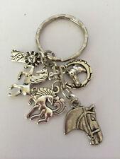 I LOVE HORSES  Key ring holder Tibetan Silver horses horseshoe 1st ribbon charms