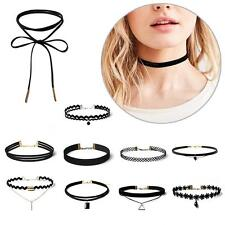 10Pcs/Set Punk Velvet Lace Choker Gem Bead Pendant Chain Necklace Jewelry