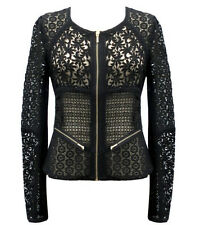 NWT Yoana Baraschi Daytona Lace Moto Jacket Sheer Zip Up Coat Crochet Blazer *4