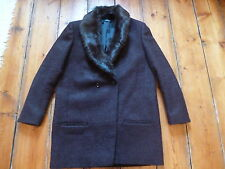 THE KOOPLES DK PURPLE  COAT, 40, 12, REMOVABLE FUR COLLAR , D/BREASTED