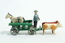 30er Erzgebirge Zinnräder / Modell Leiterwagen mit Kutscher  Ochsen & Pferd