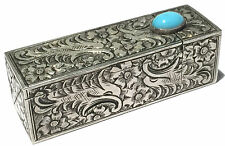 BEAUTIFUL VINTAGE 800 SILVER ENGRAVED TURQUOISE LIPSTICK HOLDER WITH MIRROR