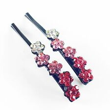 USA Bobby Pin Rhinestone Crystal Hair Clip Hairpin Jeweled Flower Pretty Pink B2