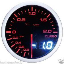 Manometro Strumento Pressione Turbo -1 +2 Depo 1x1 2 in 1 Nero 52mm Ambra Bianco