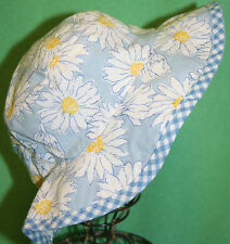 Ralph Lauren Baby Girl Sun Hat Daisy Flowers Blue Yellow NWTS Cotton 4 6X